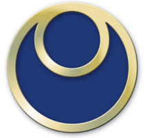 Blue circle with two golden rings