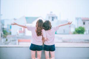 two girlfriends on a terrace