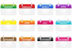 annual calendar with a different color in the header every month