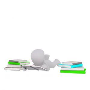 Reclining figure between books